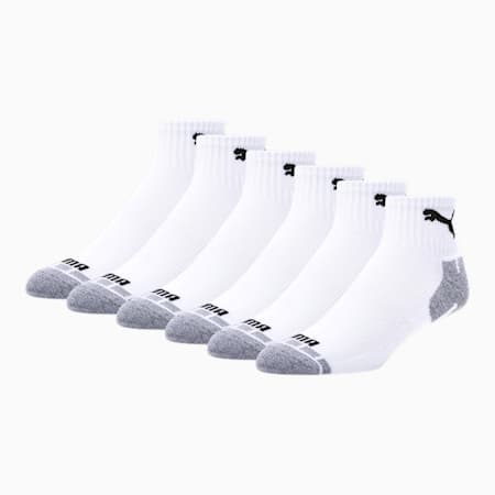 Men's Quarter Crew Cat Socks [6 Pack], WHITE / BLACK, small